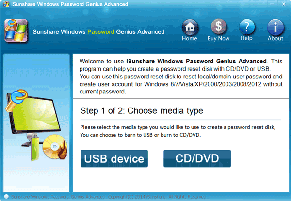 choose either CD/DVD or USB to reset Windows password