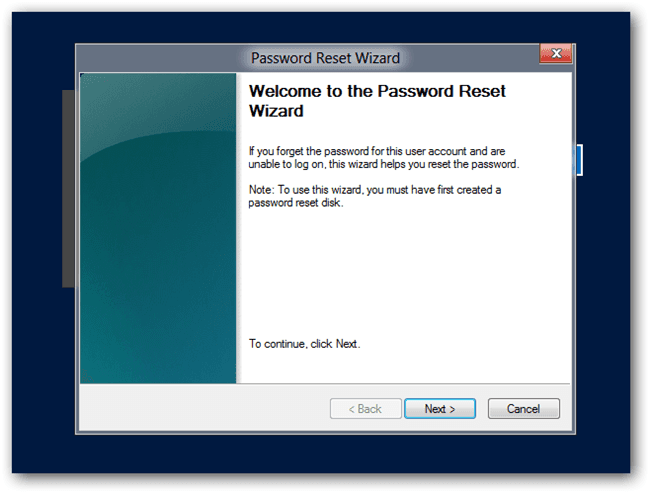 Click on Next in password reset wizard for Windows 8