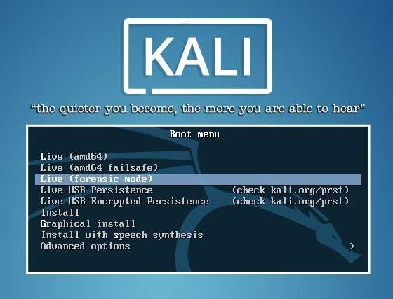 Kali Linux Boot Menu to reset Windows 10